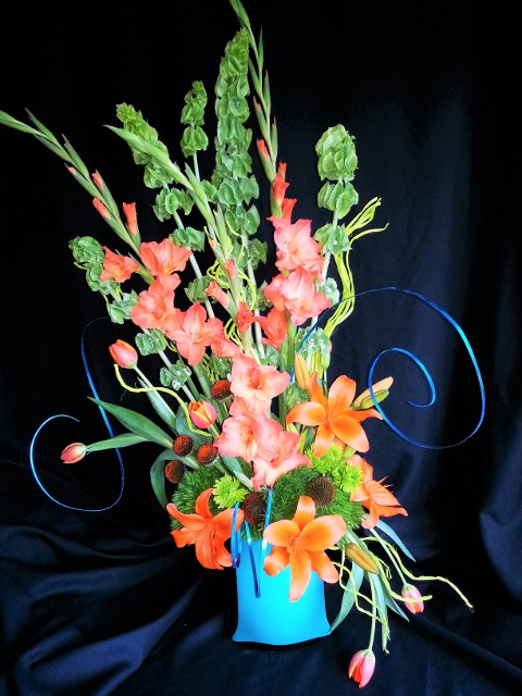 whimsy display of flowers for event booth