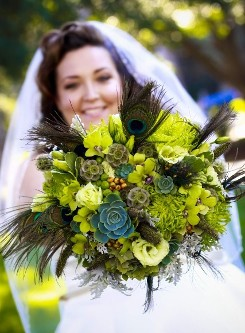 Green Bridal Bouquet with Succulents