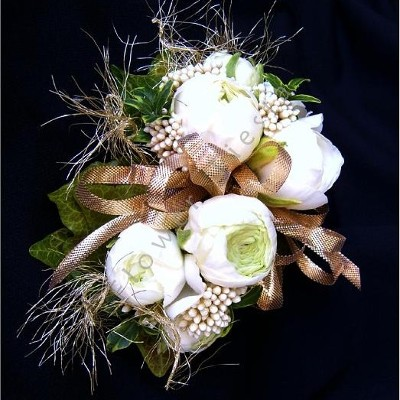 White Gold Accent Prom or Golden Anniversary Corsage