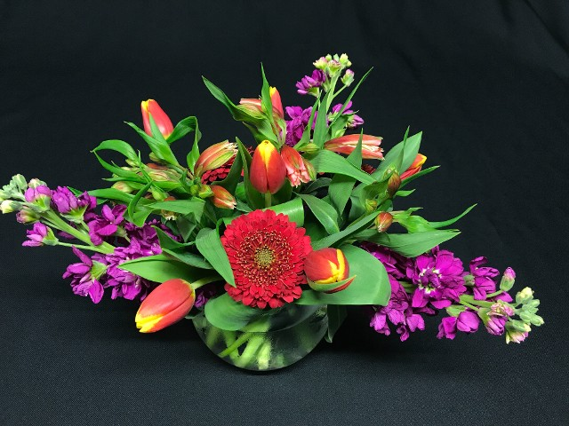 bright summer vase of flowers