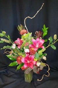 Autumn Mix with Lilies and Kiwi Branches