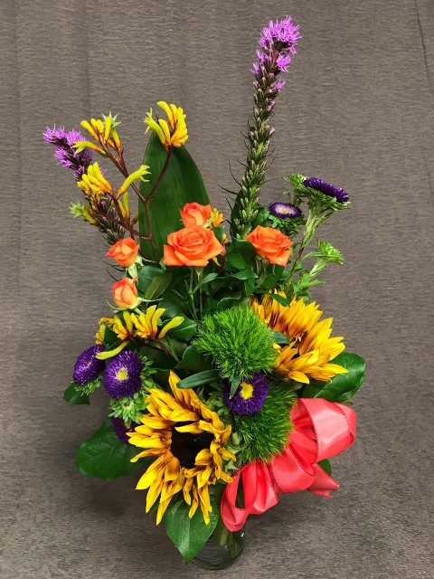 kangaroo paw bright mix with sunflowers