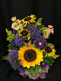 Small Summer Sunflower Bouquet with Butterflies