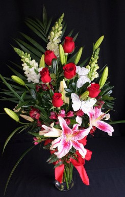 Red roses and Stargazer Lily tall mix