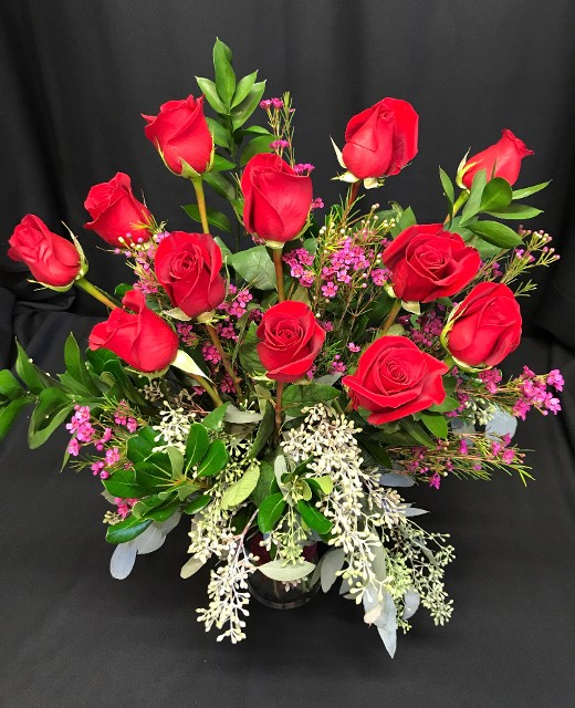 2018 red roses and seeded eucalyptus