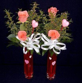 Double Rose Bud Vases, Delivery to Schools and Small Offices