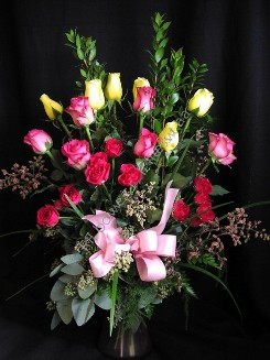 Multicolor roses and spray roses with sumac