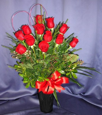 Red Rose premium long stem dozen in USA Made Vase with Heart