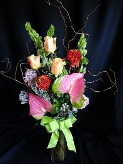 Elegant Anthurium and Roses with Willow
