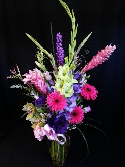 Tall mixed urn with pink ginger