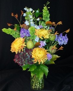 Autumn mix with antiqued hydrangea