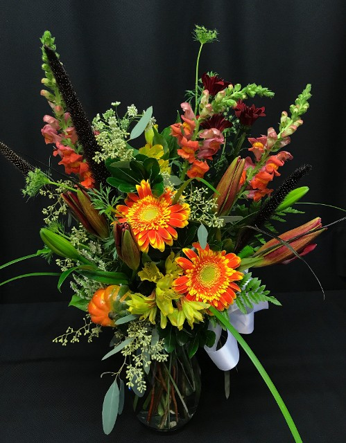 autumn mixed bouquet with lily buds