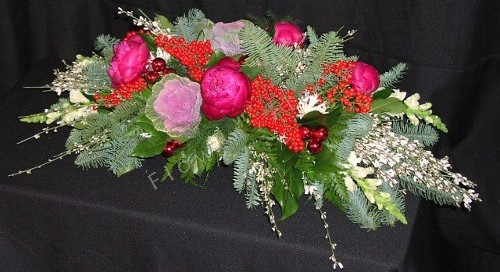 Holiday spray centerpiece with peonies