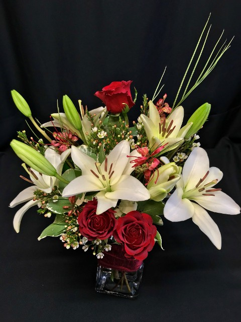 valentine special medium mixed bouquet with roses by Flower Fiesta florist in Rancho Cordova