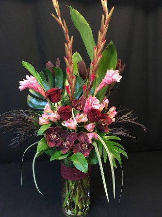 Cymbidium Orchids and Ginger Rose Cylinder Tall 2