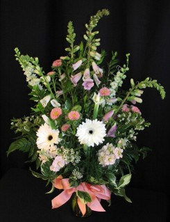 Bright white spring bouquet with foxgloves