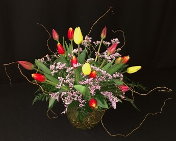 local mixed tulip bowl with willow branches
