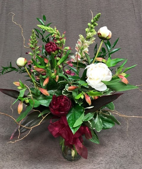 elegant peonies with willow branches