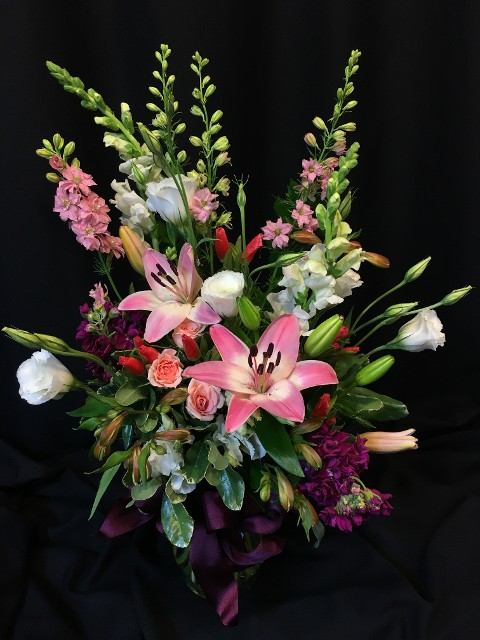pink lily godetia bouquet