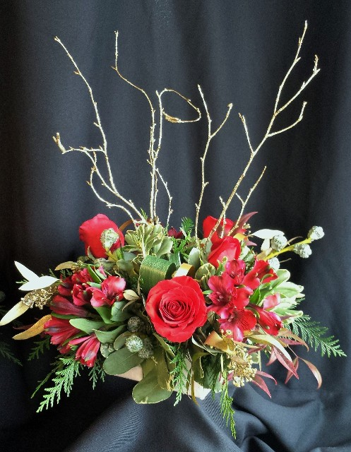 holiday small gift box centerpiece with branches
