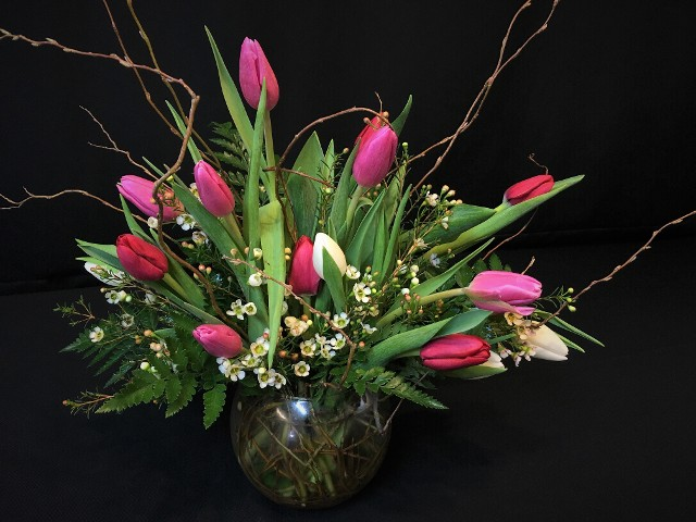Local Mixed Tulip Willow Bowl for Valentine's day