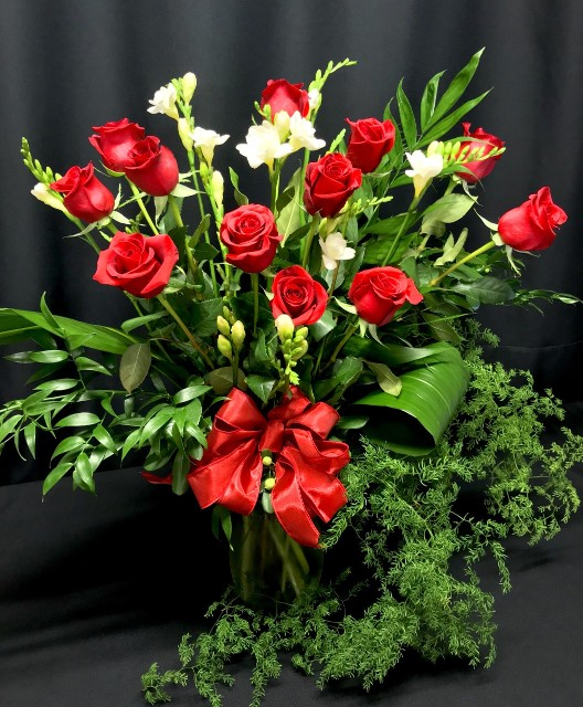 Dozen Roses Plus - long stem roses with additional premium filler flowers and height by Flower Fiesta