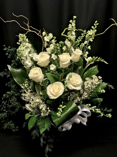pure white bouquet with roses and willow