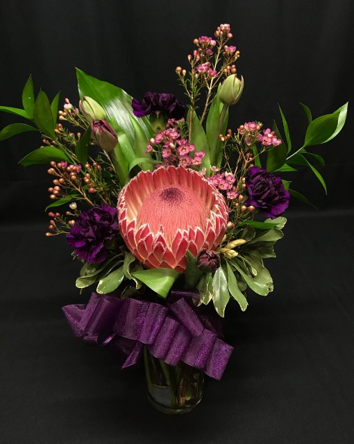 Protea vase small exotic bouquet for delivery